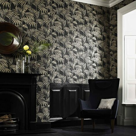"main image of ""Designer Julien Macdonald Honolulu Glitter Palm Print White Ice Wallpaper (Was £25)"""