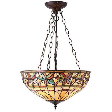 Designer Large Tiffany Style Ceiling Pendant Shade Light Ashtead Uplighter Lamp