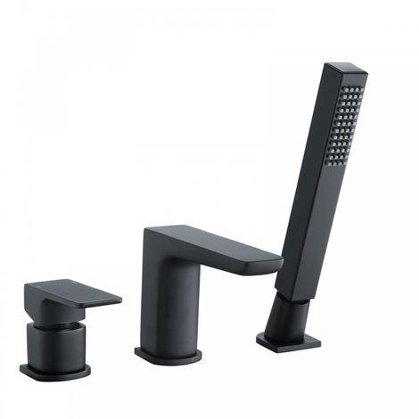 Designer Matte Black Bath Filler Taps with Shower Handset Mixer 3 Tap Hole