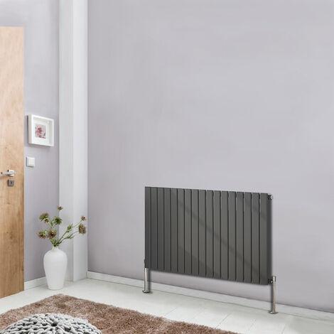 Designer Radiator 600x1156 Horizontal Single Flat Column Panel Bathroom Central Heating Anthracite