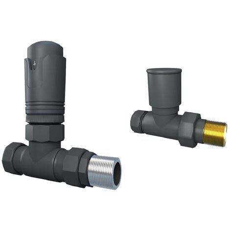 Designer Straight 15mm Anthracite Thermostatic Radiator & Towel Rail Valves
