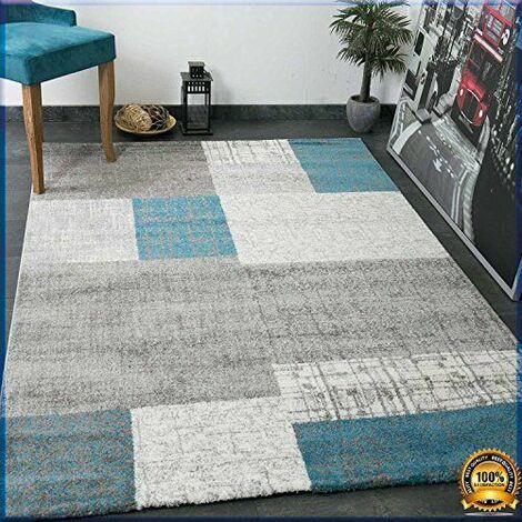 Designer Tapis poils courts en turquoise bleu, gris et blanc à carreaux aspect facile d\'entretien–VIMODA, dimensions: 120x 170cm