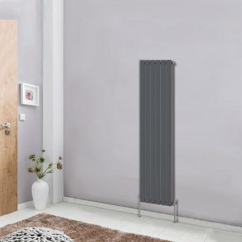 Designer Vertical Column Radiator 1600x408 Single Flat Panel Modern Bathroom Central Heating Anthracite