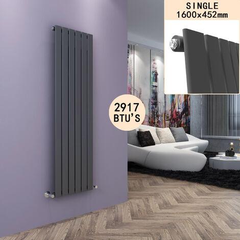 Designer Vertical Column Radiator Anthracite Single Flat Panel 1600 x 452mm