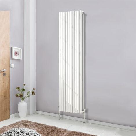 Designer Vertical White 1800x590 Radiator Tall Upright Bathroom Heater Modern Oval Column Double Panel Central Heating