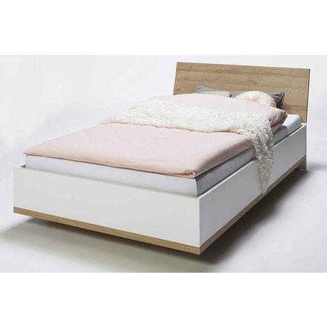 Designer White and oak Queen-size Bed 120x200cm LUDO