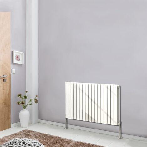Designer White Horizontal Column Radiator Modern Bathroom Heater Flat Double Panel Central Heating 600x1156