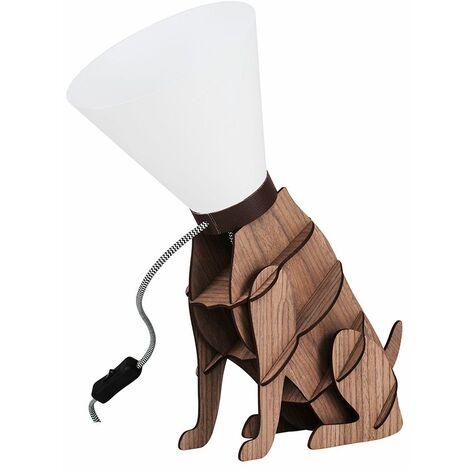 Designer Wood Brown Dog On Lead Table Lamp Light