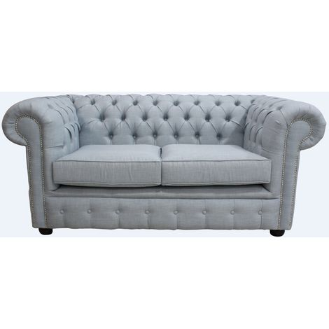 DesignerSofas4U | Buy Sky Blue linen Chesterfield 2 Seater