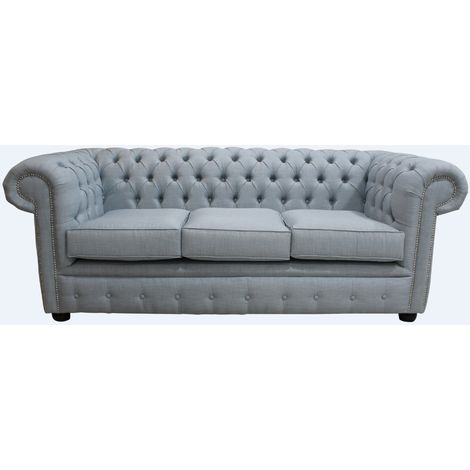 DesignerSofas4U | Buy Sky Blue linen Chesterfield Large Sofa settee