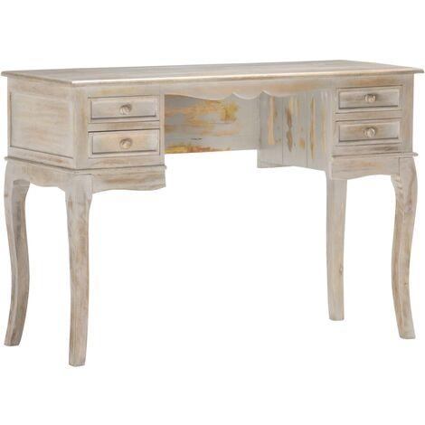 Desk Grey 115x45x75 cm Solid Mango Wood