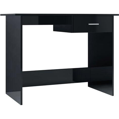 Desk High Gloss Black 100x50x76 cm Chipboard