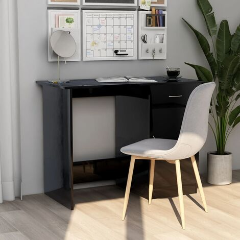 Desk High Gloss Black 100x50x76 cm Chipboard