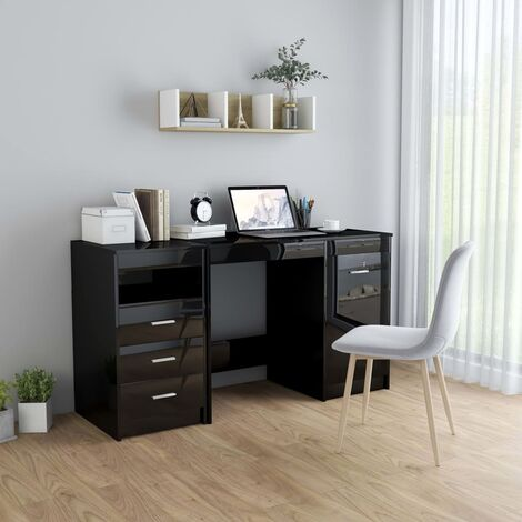 Desk High Gloss Black 140x50x76 cm Chipboard