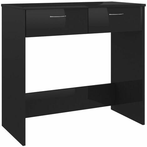 Desk High Gloss Black 80x40x75 cm Chipboard