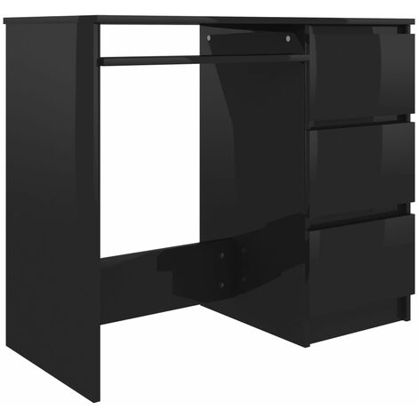 Desk High Gloss Black 90x45x76 cm Chipboard