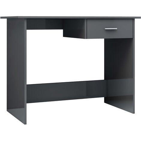 Desk High Gloss Grey 100x50x76 cm Chipboard
