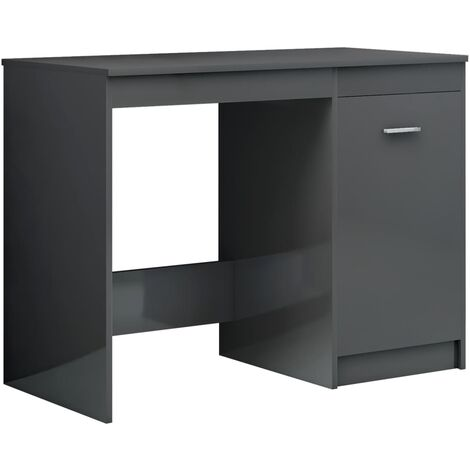 Desk High Gloss Grey 100x50x76 cm Chipboard