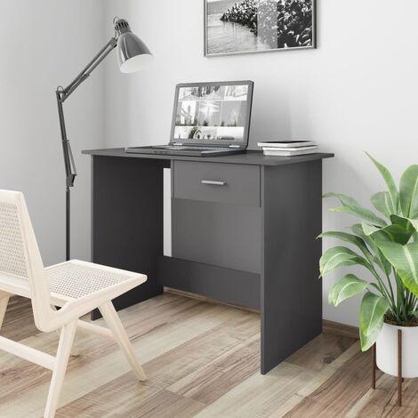 Desk High Gloss Grey 100x50x76 cm Chipboard - Grey