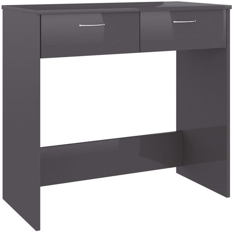 Desk High Gloss Grey 80x40x75 cm Chipboard