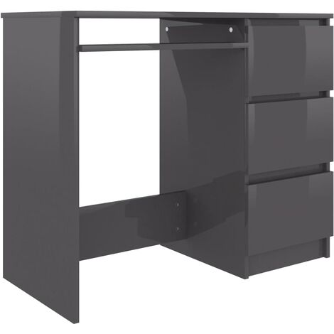 Desk High Gloss Grey 90x45x76 cm Chipboard
