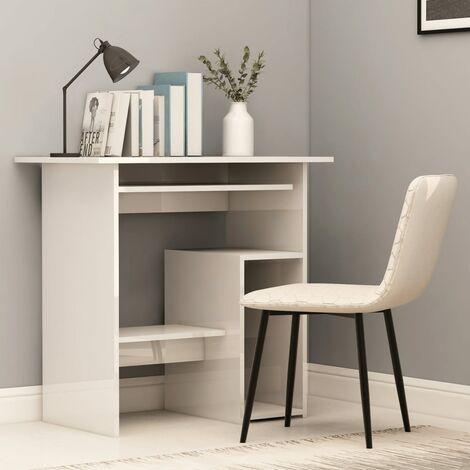 Desk High Gloss White 80x45x74 cm Chipboard