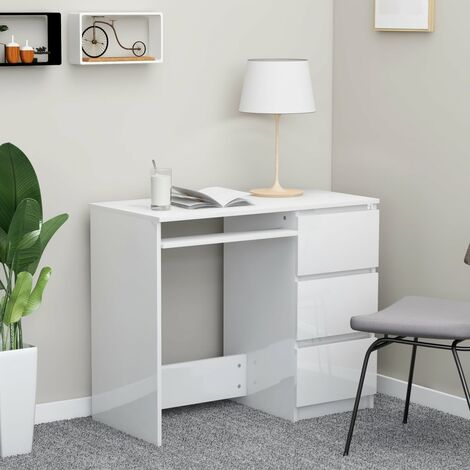Desk High Gloss White 90x45x76 cm Chipboard