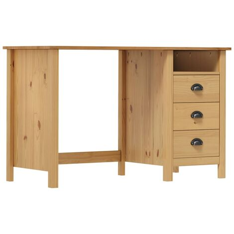 Desk Hill Range with 3 Drawers 120x50x74 cm Solid Pine Wood