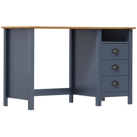 Desk Hill Range with 3 Drawers Grey 120x50x74 cm Solid Pine Wood