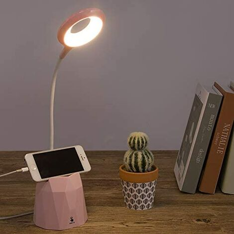 Desk Lamp, Dimmable Led Desk Lamp, Table Lamp to Protect Children's Eyes with 3 Lighting Modes (pink)