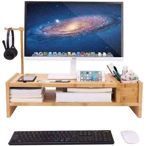 Desk Monitor Stand Laptop Computer Screens Riser Accessories Storage Organizer