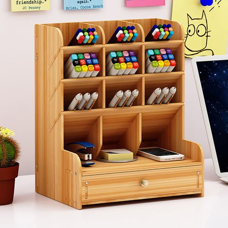 Desk Organizer Pen Holder Storage Box Desk Box Drawers