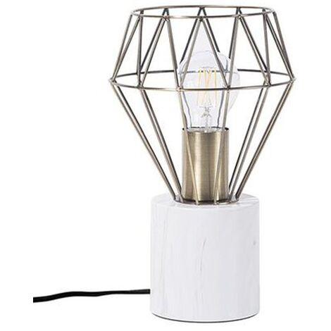 Desk Table Bedside Lamp Light Geometric Diamond Brass Small Mooni