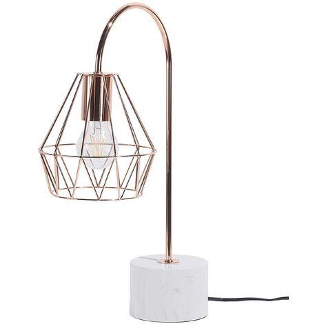 Desk Table Bedside Lamp Light Geometric Diamond Copper Medium Mooni