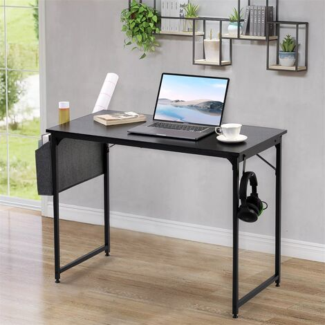 Desk Table Student Study Table Writing Desk PC Laptop Table for Small Spaces Home Office Workstation(Black)