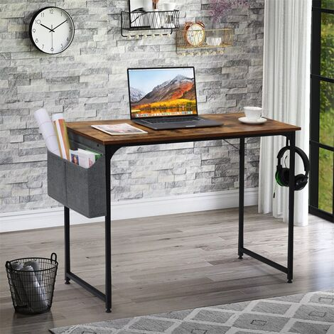 Desk Table Student Study Table Writing Desk PC Laptop Table for Small Spaces Home Office Workstation(Rustic Brown)