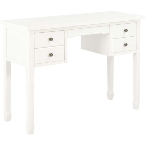 Desk White 110x40x80 cm Solid Wood
