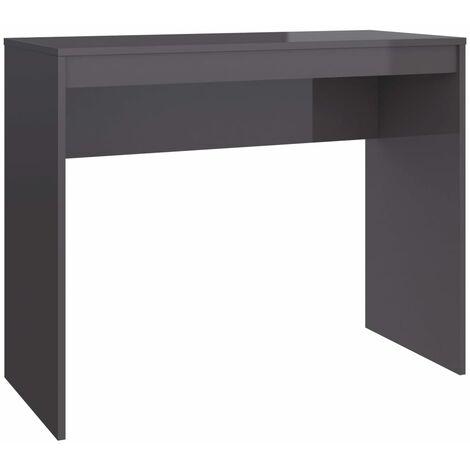 Desk 90x40x72 cm Chipboard High Gloss Grey