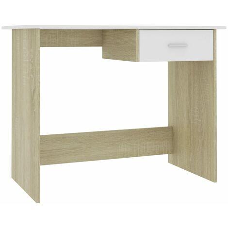 Desk White and Sonoma Oak 100x50x76 cm Chipboard