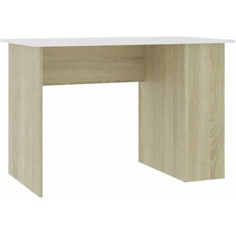 Desk White and Sonoma Oak 110x60x73 cm Chipboard