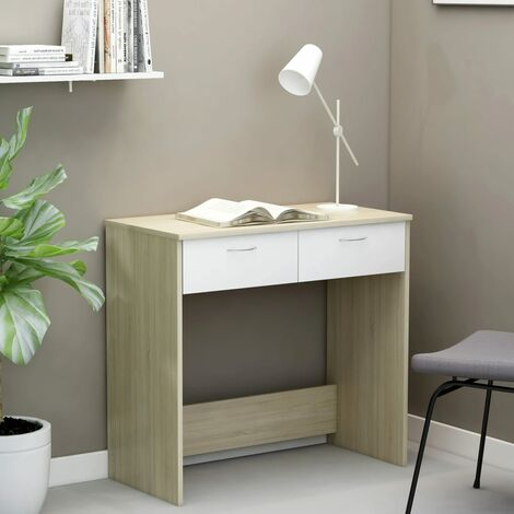 Desk White and Sonoma Oak 80x40x75 cm Chipboard