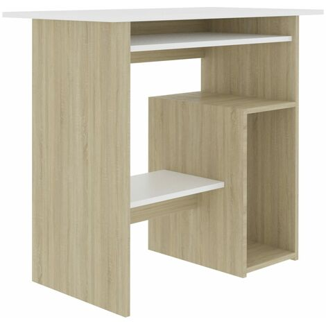 Desk White and Sonoma Oak 80x45x74 cm Chipboard