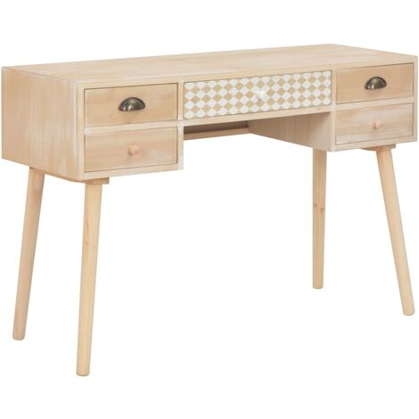 Desk with 5 Drawers 114x40x75.5 cm Solid Pinewood