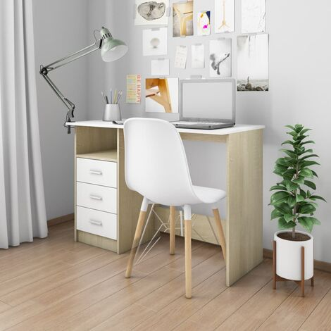 Desk with Drawers White and Sonoma Oak 110x50x76 cm Chipboard