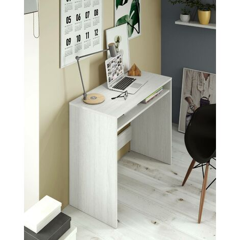 Desk with fixed shelf under the table, white colour with polished wood effect, 79 x 78 x 43 cm.
