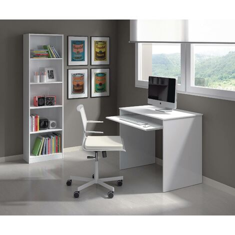 Desk with pull-out shelf, glossy white, 90 x 79 x 54 cm.
