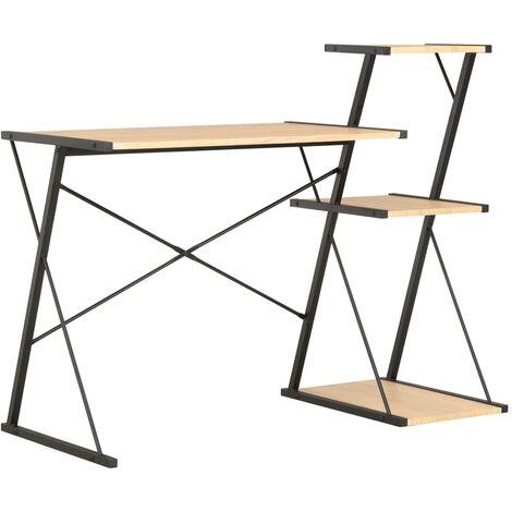 Desk with Shelf Black and Oak 116x50x93 cm