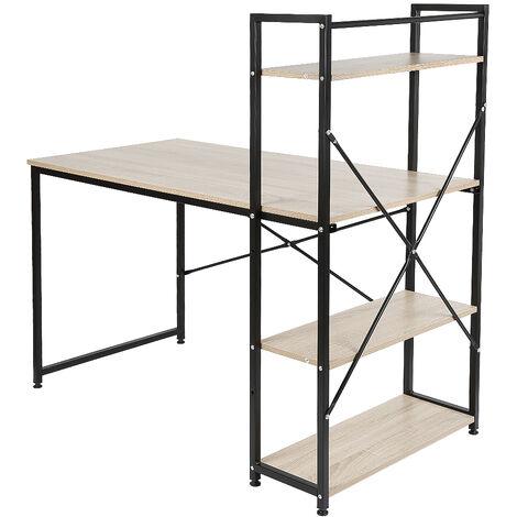Desk with shelf - oak color -120 * 64 * 121cm