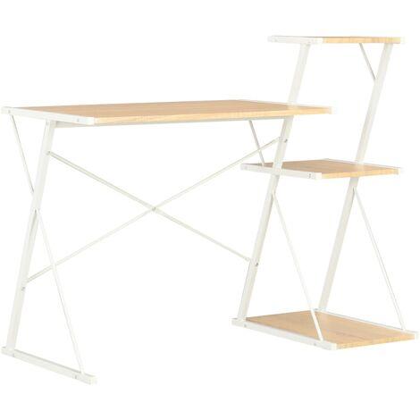 Desk with Shelf White and Oak 116x50x93 cm
