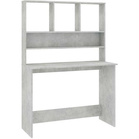 Desk with Shelves Concrete Grey 110x45x157 cm Chipboard